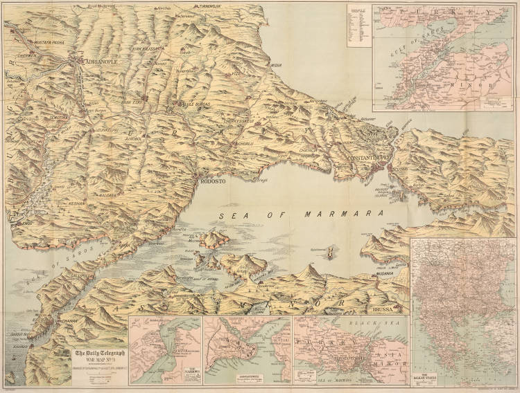 The Daily Telegraph picture map of the Dardanelles, Bosporus including the whole of Turkey in Europe (No. 9) - Auckland Libraries