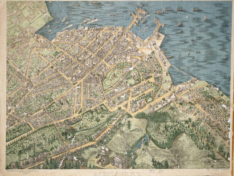 Auckland, N.Z. This view is compiled and drawn as from a point one thousand feet above and one hundred feet to the rear of the hospital during the year 1885 and part of 1886, by George Treacy Stevens.